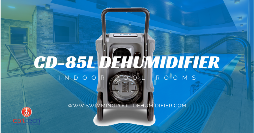 Dehumidifier for indoor pool rooms which is portable and industrial.