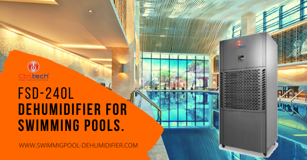 Floor mount dehumidifier for swimming pool to reduce humidity.
